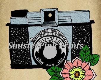 Diana Camera Tattoo Flash Print