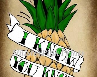 Psych Pineapple Tattoo Flash Print
