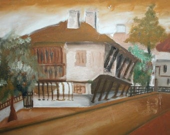 Vintage country house yard oil painting