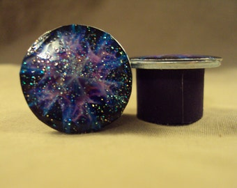 Psychadellic Purple Gauges with a touch of Sparkles Handcrafted