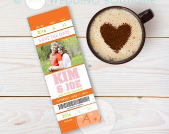 Ticket Save The Date, Printable Save The Date, Save The Date, Wedding, Save Our Date, CUSTOMIZEDKim Collection