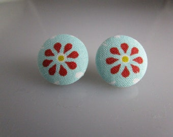 Fabric Covered Button Earrings - Red Flower on a Blue Background