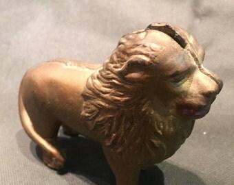 Vintage Gold Painted Cast Iron AC Williams Lion Bank 1900's