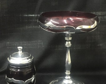 Art Deco Overlay Compote and Jelly Jar Set- 1920's Farber Bros Krome Kraft