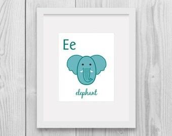 50% OFF SALE ABC nursery alphabet - E for Elephant Nursery animal Printable wall decor home decor Instant download Animal art Nursery decor