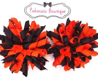 Hair Bows, Halloween Korker Bow Set, Halloween Bows, Halloween Korkers, Orange & Black Korker Bows. Girls Hair Bows, Toddler Hair Bows