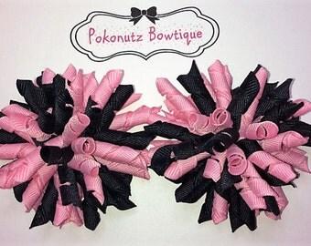 PINK & BLACK Korker Hair Bow set, Pink n Black Korker Hair bows,  Pink n Black Hair Bows, Girls Hair Bows, Baby Hair Bows