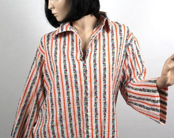 Women's Casual Hipster Folkster Shirt in Cotton Size Large