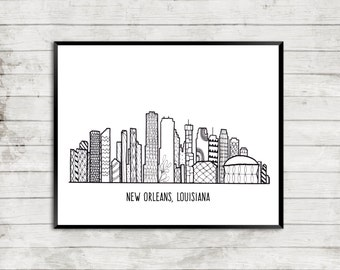 New Orleans Skyline Art, New Orleans Skyline, NOLA, Zentangle