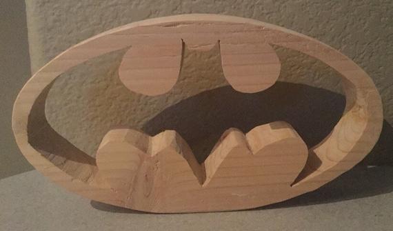 Batman logo wood carving