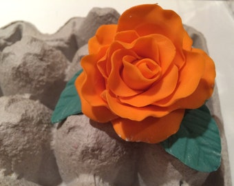 Fondant Rose with leaves