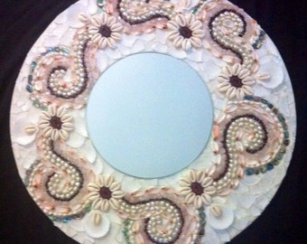 Flowing Petals, shell Mosaic Mirror