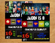 Justice League Birthday Invitation DIGITAL FILE