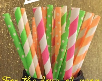 Neon Paper Straws, Polka Dots,Stripes ,Neon Party Straws , Birthday Party , Theme Party,  Neon Green , Neon Orange , Neon pink, Cake pops