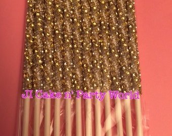 12 Gold Cake Pop Sticks with Bling