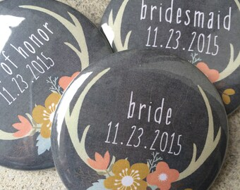 Bridal Party Buttons, Bridal Party Favor, Wedding Pins, Wedding Badges, Rustic Wedding, Antler Wedding, Wedding Favors, Bridesmaid