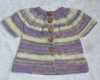 Violet baby cardigan Lavender baby cardigan Baby clothing Hand Knit baby cardigan Jacket for babies Infant clothing Baby Cardigan