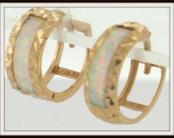 """14K solid yellow gold OPAL inlay hoop HUGGIE EARRINGS 1/2"""""""