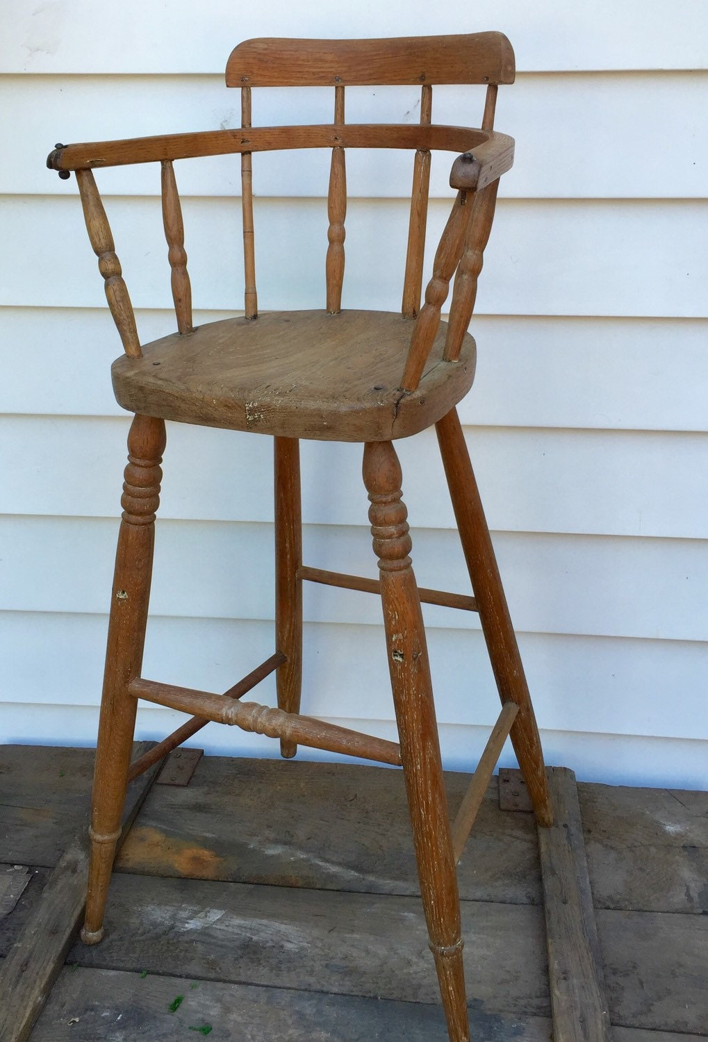 Unique Antique Doll Or Baby High Chair Handmade Of Wood