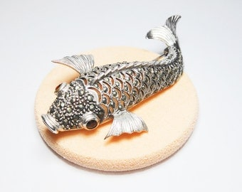 Large Vintage Swimming Fish Sterling Silver Brooch With Marcasite & Garnet,Sterling Silver Brooch,Stone Brooch,Vintage Brooch,Brooches