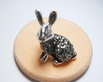 Stunning Vintage Rabbit Sterling Silver Brooch With Marcasite,Sterling Silver Brooch,Stone Brooch,Vintage Brooch,Rabbit Brooch,Rabbit