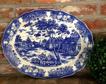 Vintage Blue and White MZ China Japanese Serving Platter
