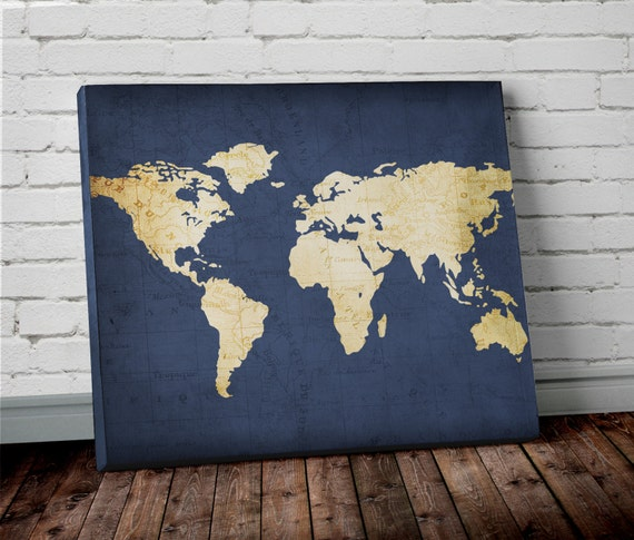 Navy World Map Wall Art Canvas World Map Print In Navy Blue