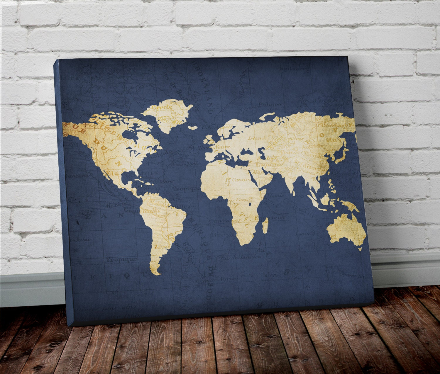 Navy world map wall art canvas world map print in navy blue for Gold wall art