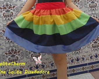 kawaii Lolita sweet girly rainbow skirt.