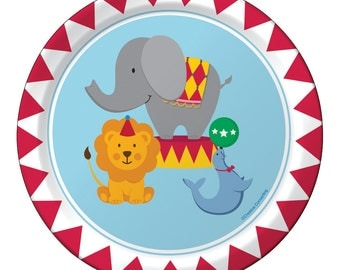 Circus Party Plates, Paper Plates, Carnival, Lion, Elephant, Seal, Boy, Girl, Kids Birthday Party, Tableware