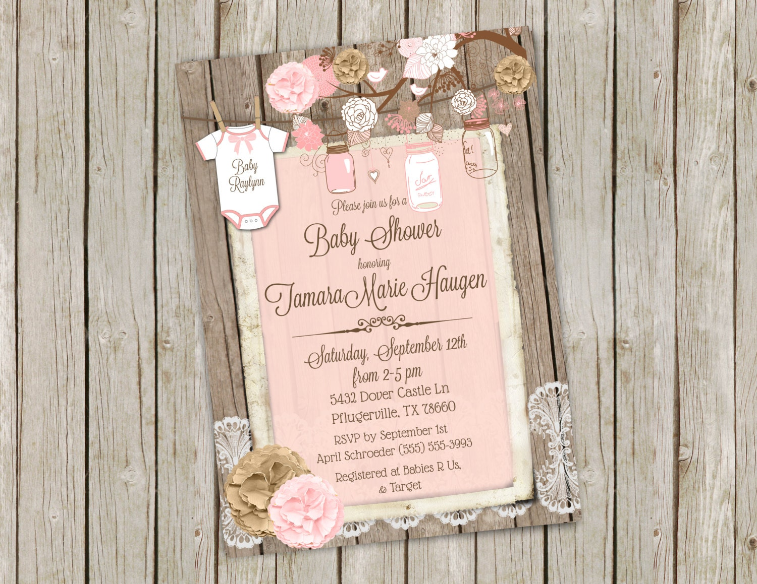 pink mason jar baby shower invitation printable 5x7