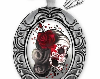 Dia De Los Muertos Red Rose Sugar Skull Girl Antique Silver Ornate Day of the Dead Glass Pendant Necklace 73-SOOPN