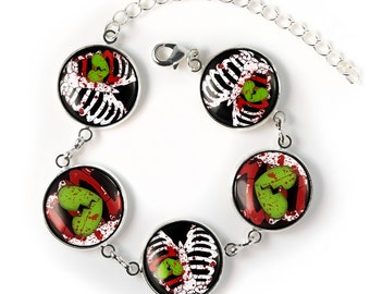 Bloody Zombie Ribcage & Heart Collection Sterling Siver Glass Gorey Halloween Charm Bracelet SRCB-14
