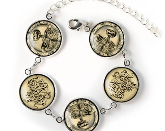 Gothic Victorian Memento Mori Skeleton Collection Sterling Siver Glass Horror Charm Bracelet SRCB-15