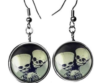 Sterling Silver Vintage Freak Show Conjoined Twins Skeleton Fetus Glass Dangle Oddity Earrings 99-SLRE
