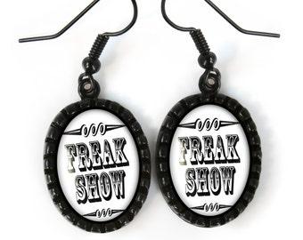Retro Jet Black Freak Show Glass Dangle Vintage Oddity Earrings 163-JBOE