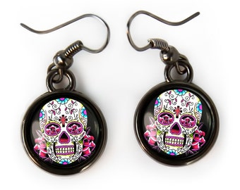 Small Pink Day of the Dead Sugar Skulls Gunmetal Black Glass Halloween Earrings 58-GMSE