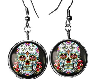 Sterling Silver Day of the Dead Sugar Skull Glass Dangle Dia De Los Muertos Earrings 55-SLRE