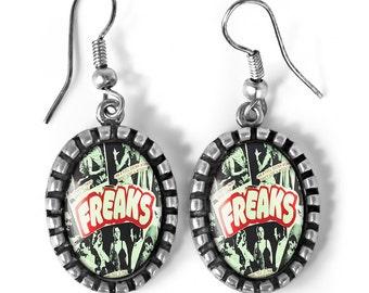Freaks Vintage Freak Show Circus Oval Antique Silver Glass Dangle Oddity Earrings 167-SOE