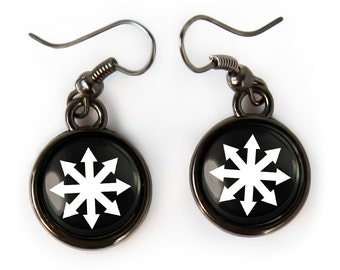 Small Chaos Theory Symbol Gunmetal Black Glass Philosophical Earrings 379-GMSE