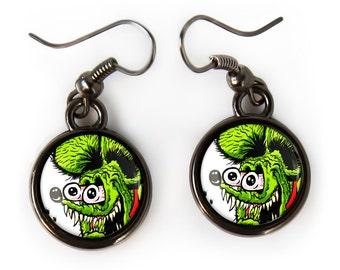 Small Rat Fink Ed Roth Hot Rod Kulture Gunmetal Black Glass Retro Earrings 334-GMSE