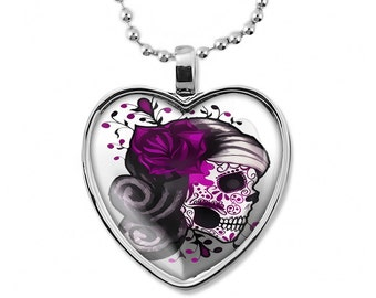 Pink Day of the Dead Sugar Skull Girl Shiny Silver Heart Shaped Pendant Necklace 7-SHN