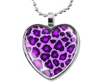 Shiny Silver Purple Leopard Animal Print Glass Heart Pendant Necklace 208-SHN