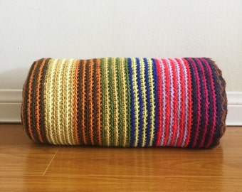Vintage Afghan - Striped Multicolor Granny Blanket / Throw