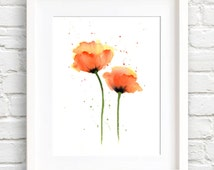 Poppies Art Print - Orange Flower Wall Decor - Floral Watercolor Painting