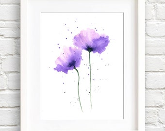 Poppies Art Print - Purple Flower Wall Decor - Floral Watercolor Painting