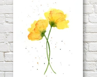 Yellow Poppies Art Print - Flower Wall Decor - Floral Watercolor Painting