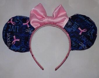 Breast Cancer Awareness Mickey ears headband