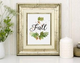 Fall Art Printable, autumn leaves,  inspirational print, Acorn printable watercolor, home decor, nursery wall art, watercolor printable