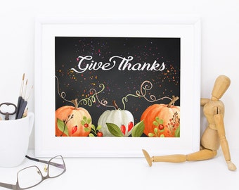 Thanksgiving Printable, autumn print,  inspirational print, Pumpkin printable, home decor, fall print, watercolor printable, art printable